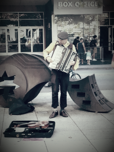 accordion and sculpture