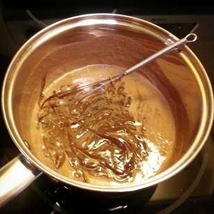 adding baking chocolate